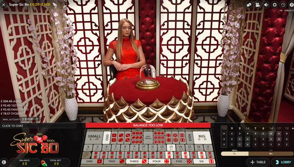 Super Sic Bo Live Casino game