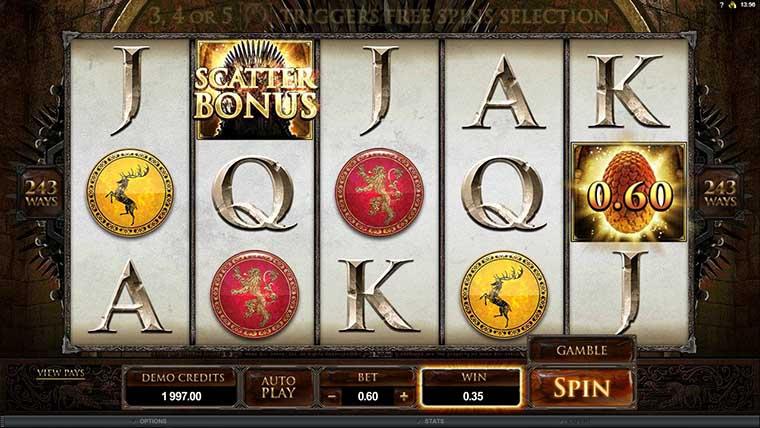Game of Thrones slots bonus
