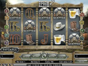 Dead or Alive Free Spins Bonus with 5 scatters