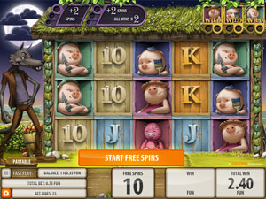 Blowing Down The House Bonus Feature in Big Bad Wolf Slot