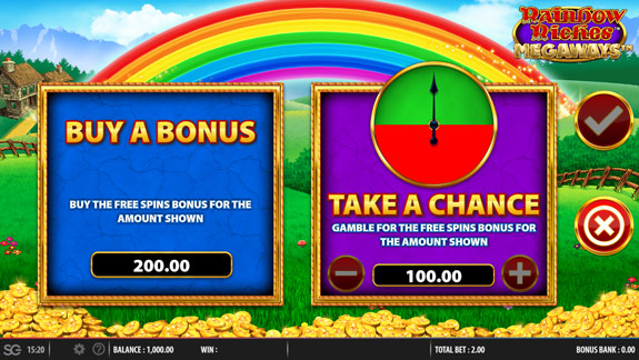Buy pass in Megaways version of Rainbow Riches