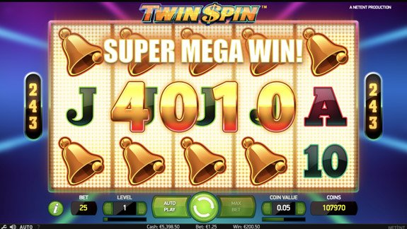 Twin Spin five linked reels mega big win