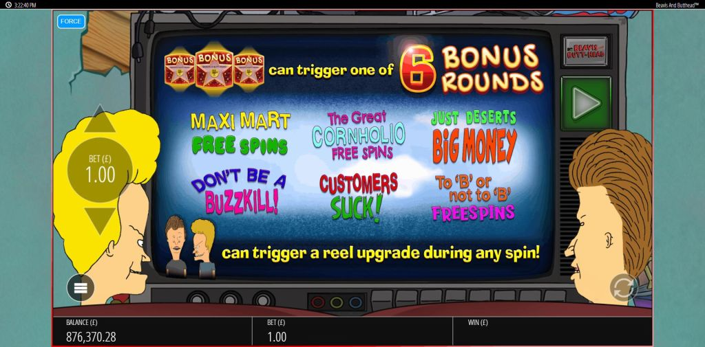 Beavis and Butthead slot bonus games