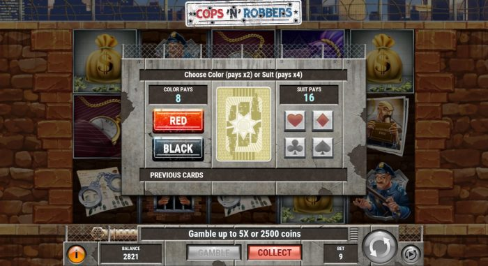 Cops and Robbers slot gamble feature