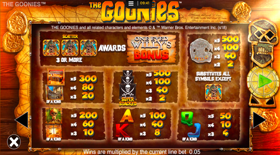 The Goonies slot machine